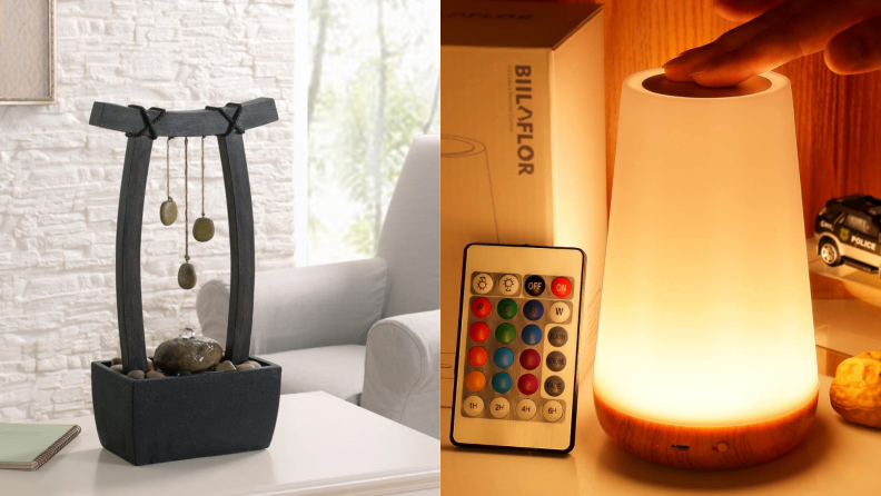 On left, small water fountain on table indoors. On right,