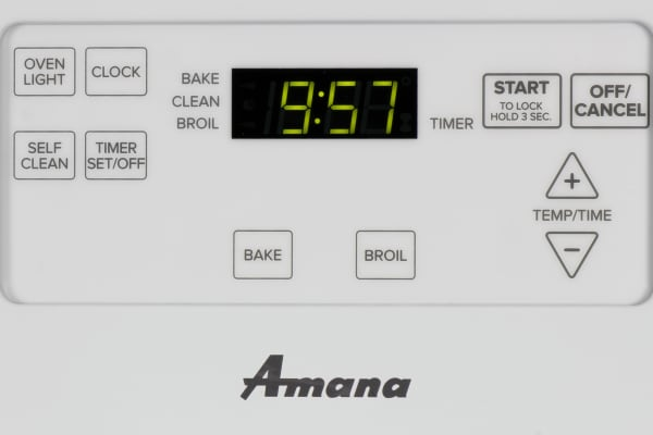 The Amana AGR5630BDW oven controls