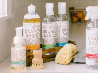 Branch Basics products lined up on counter, accompanied with a sponge and brush