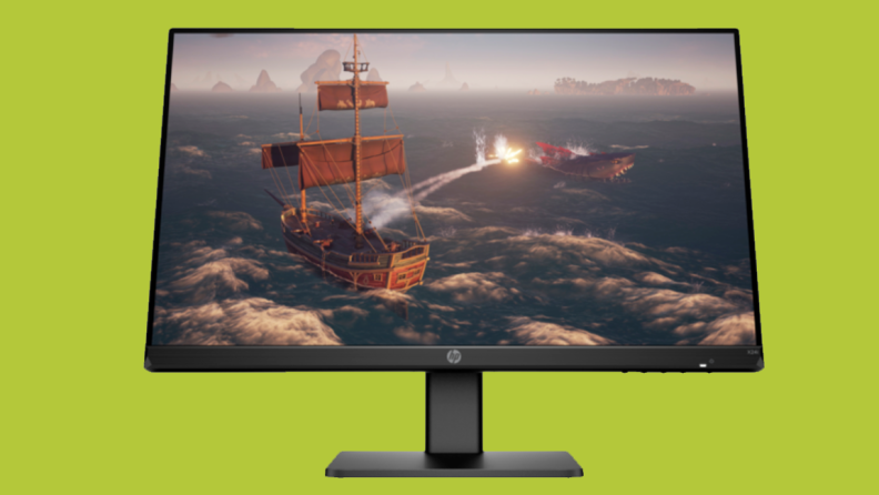 An image of an HP monitor on a green background featuring a video game screen capture on the monitor.