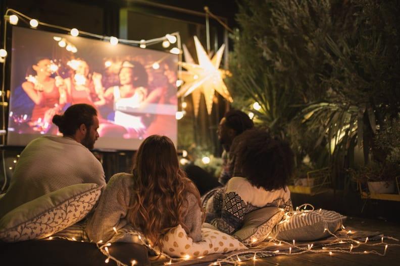 Backyard movie screening