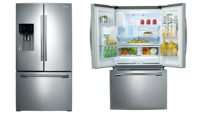 Two images side by side of the same gray fridge, one with doors closed and the other with doors open.