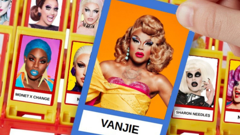 A person plays Guess Who with Drag Race queens as cards.