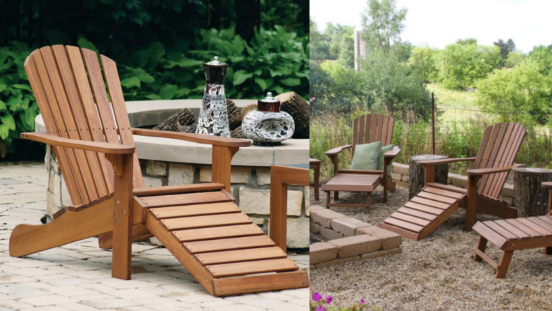an Adirondack chair with a built-in ottoman