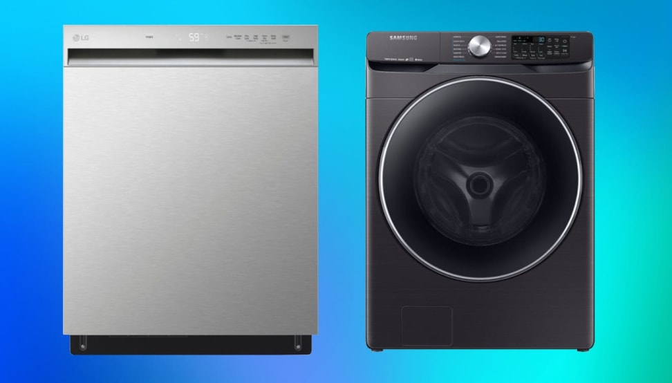 Two appliances side-by-side against a blue background
