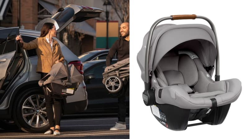 On the left, a person smiling as they take the car seat out of the car.  Right gray car seat on a white background.