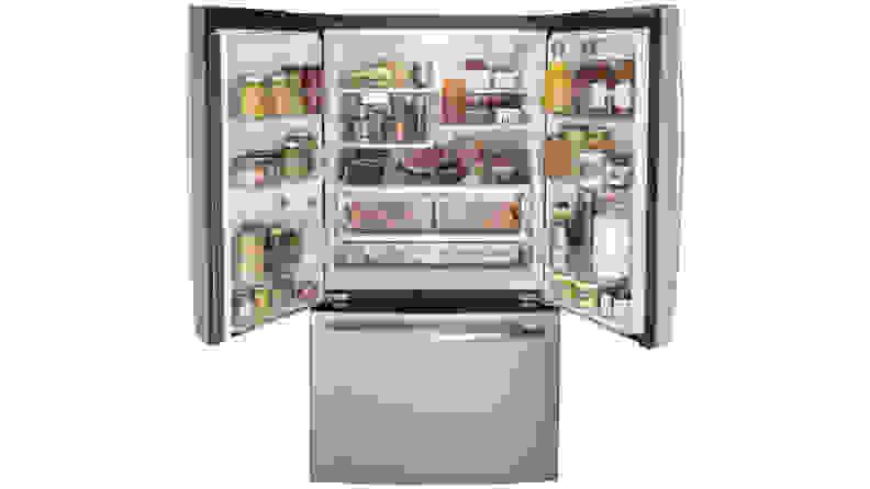 GE GNE27JSMAFSS French Door Refrigerator Open Doors