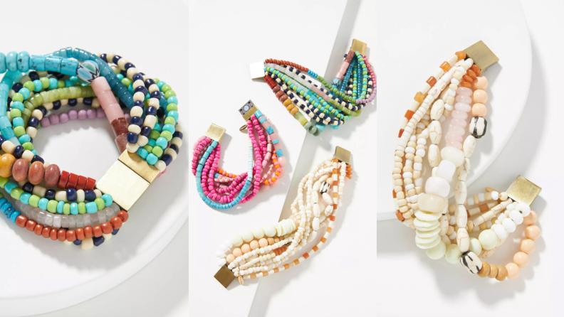 multi-colored bead bracelet on white background