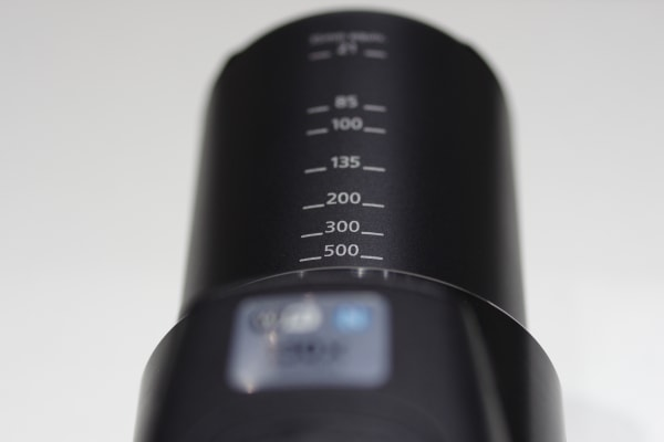 The SX60 Hs includes markings on the lens so you know just how much zoom you're using in 35mm terms.