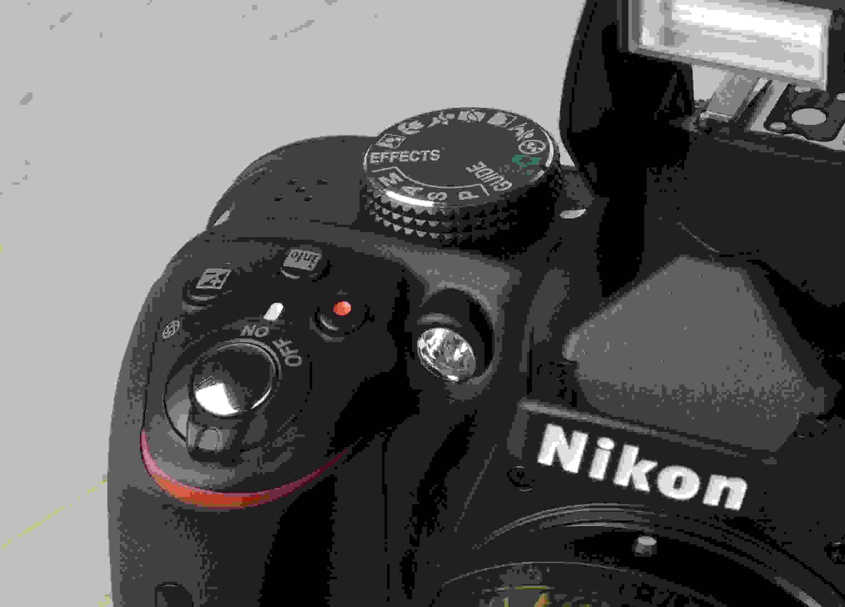 A picture of the Nikon D3300's top controls.