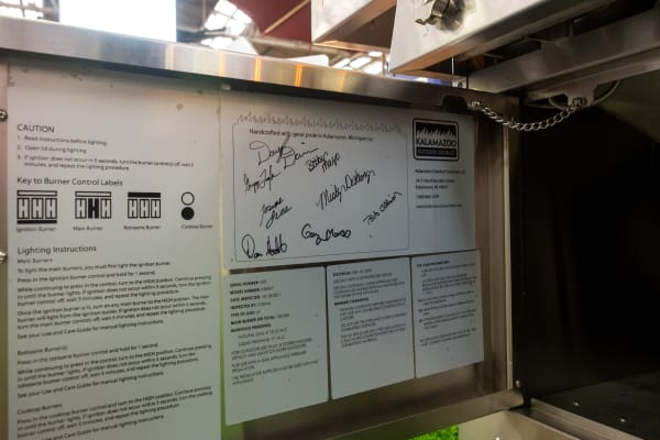 All Kalamazoo grills and ovens are signed by the workers who made them. It's a nice touch that emphasizes the company's handmade ethos.