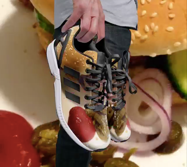Yep, Adidas will be all too happy to print your burger photo on a pair of sick new kicks.