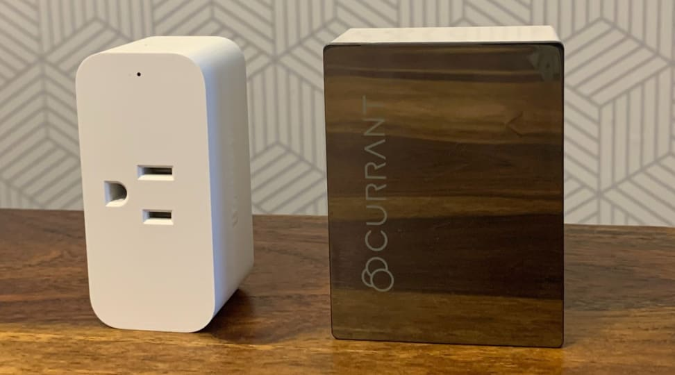 Amazon Smart Plug (left) and the Currant WiFi Smart Outlet (right)