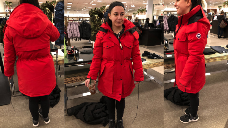 Trying on the Canada Goose coat