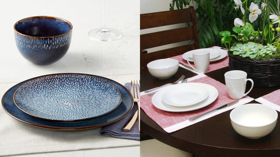 (1) A blue printed dinner plate. (2) A set of plain white dinnerware at a table.