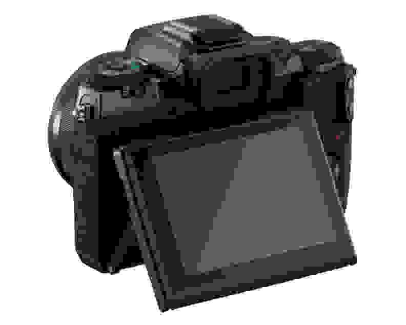 The Canon M5's rear LCD can tip up or down, flipping all the way forward to face your subject.