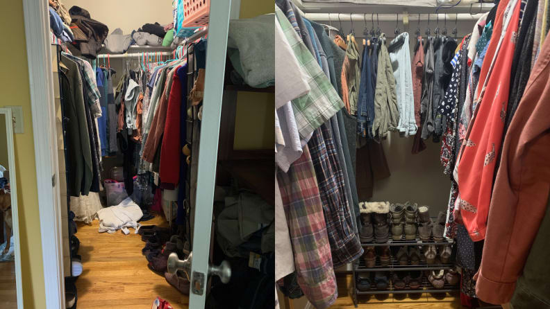 a messy closet on the left, and the same closet after being organized, on the right