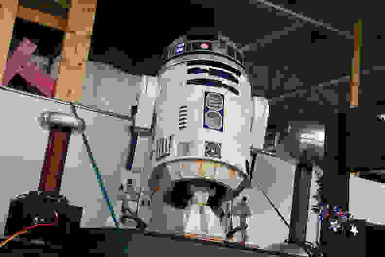 A replica of R2D2 from Star Wars.