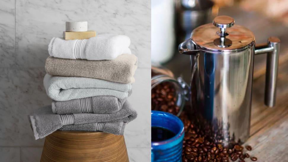 Bath towels french press