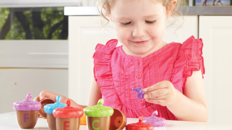 Alphabet Acorns is just the right size and skills level for toddlers.