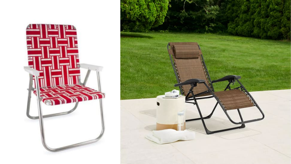 At left, a red and white upright lawn chair, at right, a brown anti-gravity lounge chair on a patio