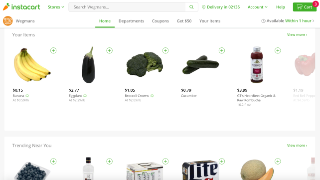 Wegmans Instacart Screen