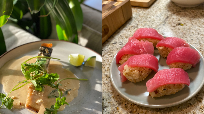 On the left, there's a grilled piece of salmon with lime wedges and on the right, there's tuna sushi.