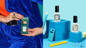 On left, person holding package of Poo-Pouri. On right, two bottles of Poo-Pouri in front of blue background next to school supplies.