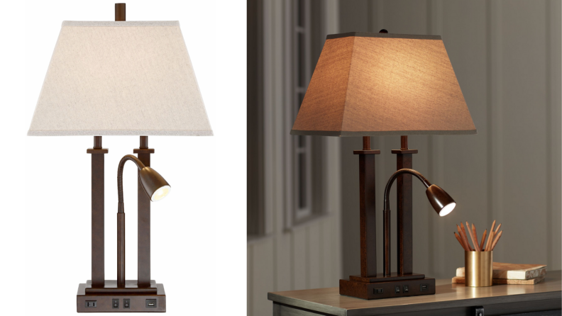 A bronze reading lamp sits on an end table.
