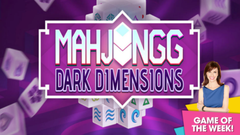 An image of a label for the MahJongg Dark Dimension, which is overlayed by a tag indicating that it's the HSN game of the week.