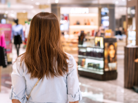 A woman looks around a department store