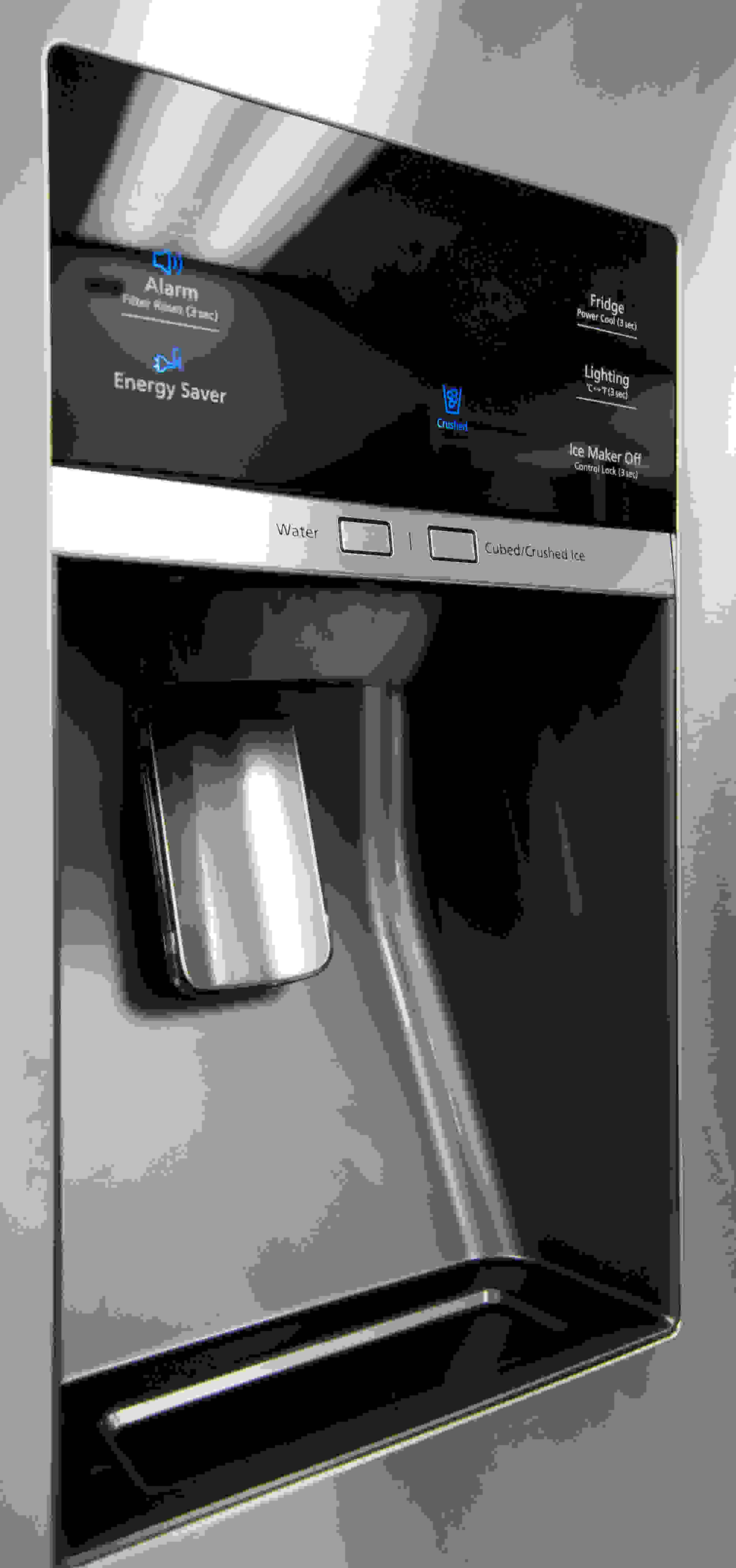 The Samsung RF28HMEDBSR's stylish dispenser has plenty of room for both regular drinking glasses and wider pitchers.