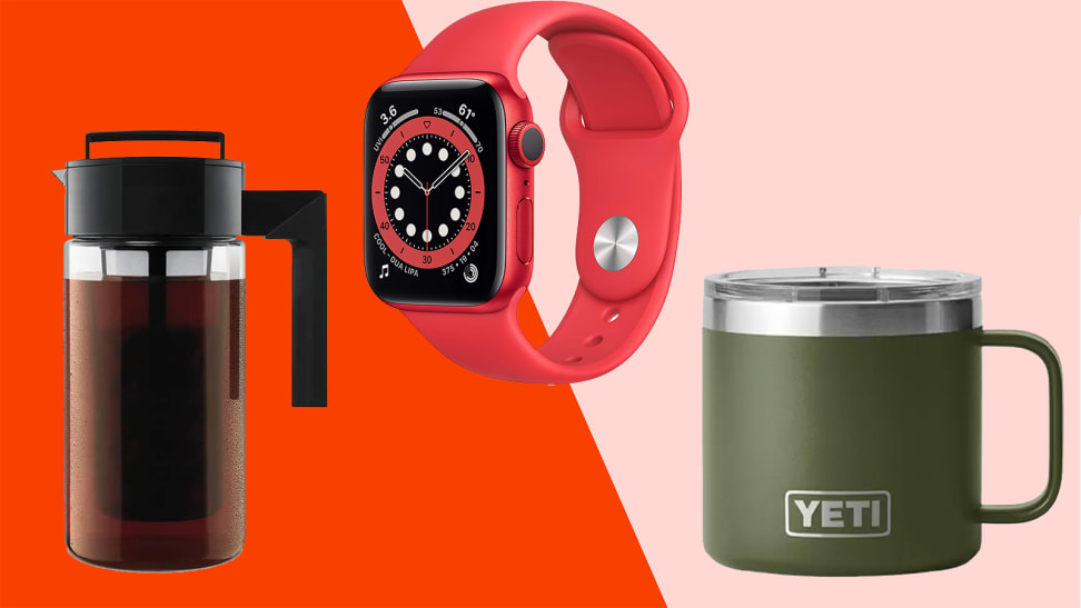 cold brew maker, red apple watch and olive mug on a red/pink background.