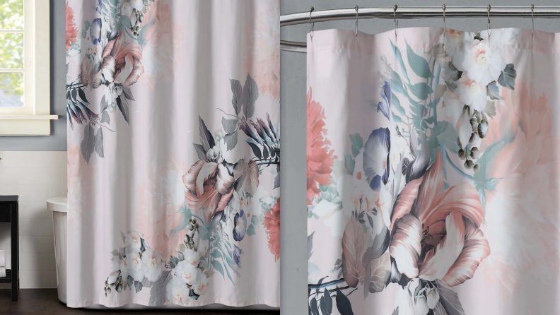 A floral shower curtain.