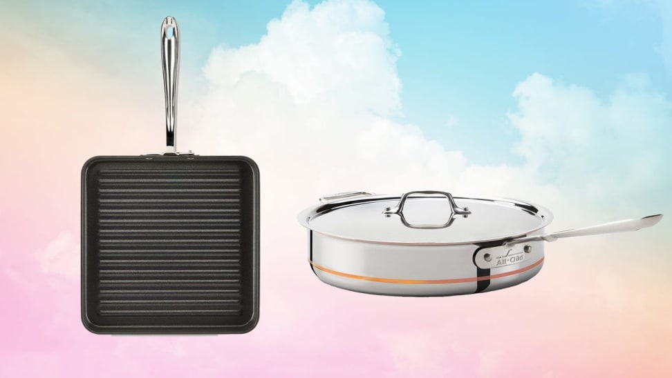 Two pieces of All-Clad cookware against a multicolored background.