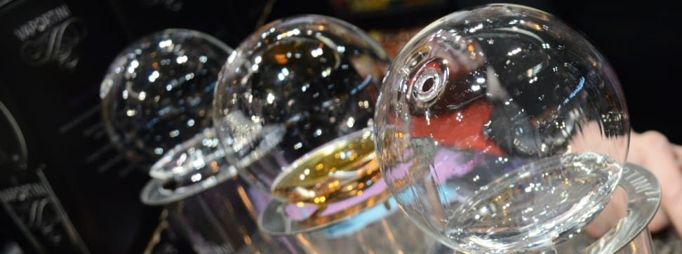 An array of spirits in Vaportini glasses.