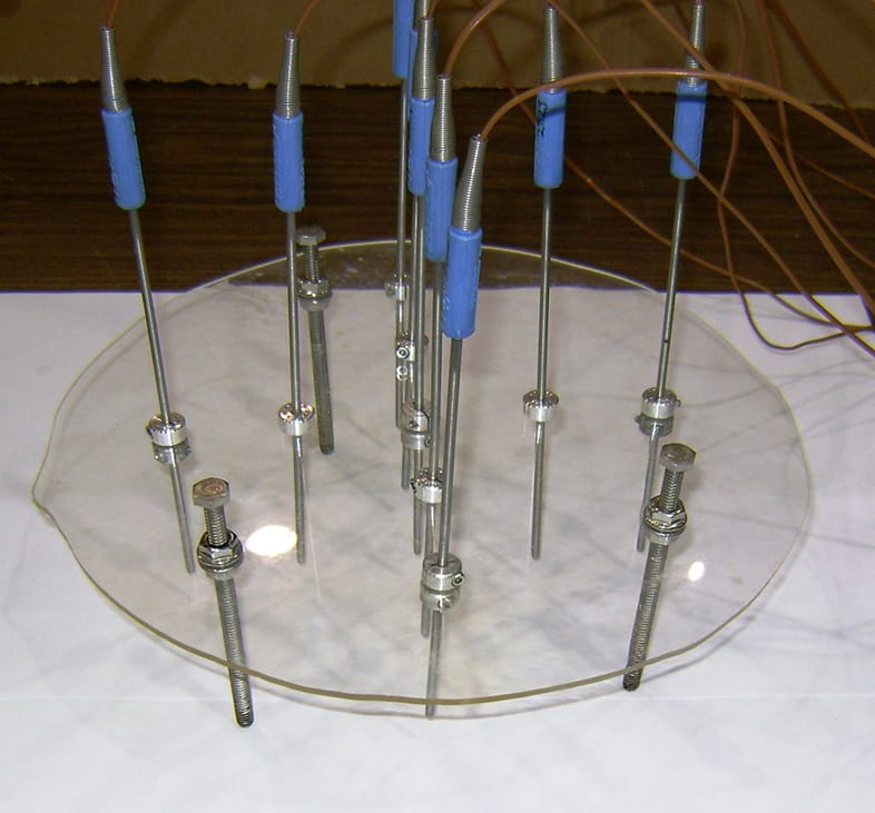 A group of temperature gauges.