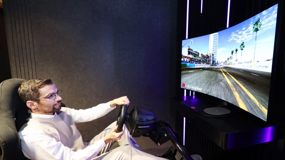 LG's 48-inch Bendable Cinematic Sound OLED (CSO) being showcased at CES 2021