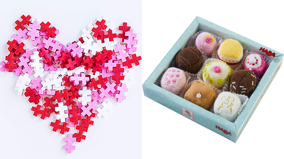 Valentine's gifts for kids, including a puzzle and plush desserts