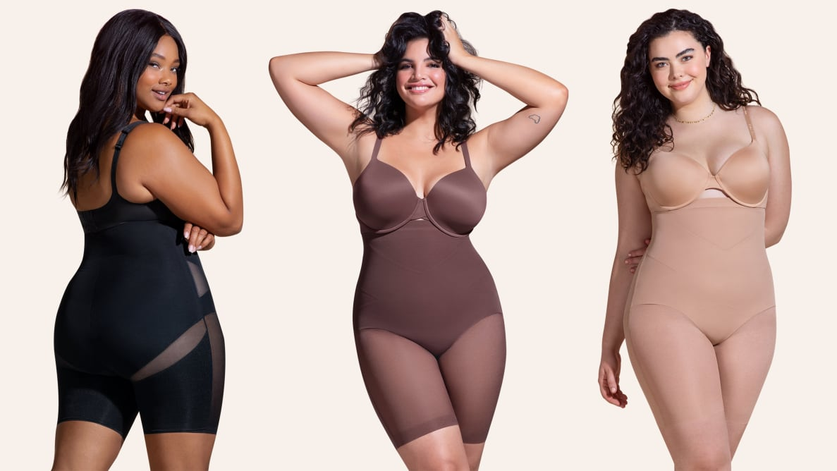 Three women standing next to each other wearing different colored shapewear