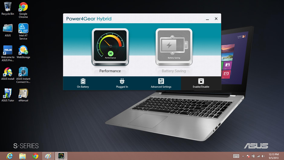 The Power4Gear Hybrid software allows for quick display and battery life adjustments.