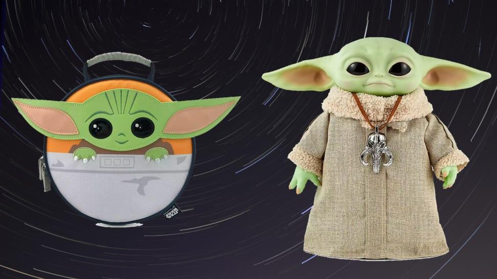 A Baby Yoda lunch box next to an animatronic Yoda