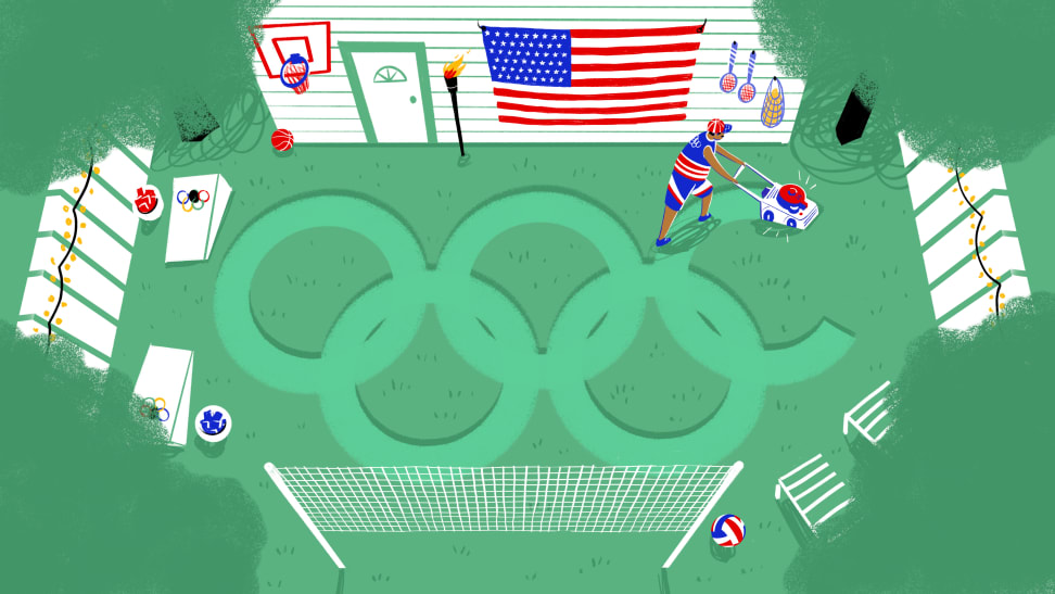 illustration showing olympic rings being made on grass with a lawnmower.