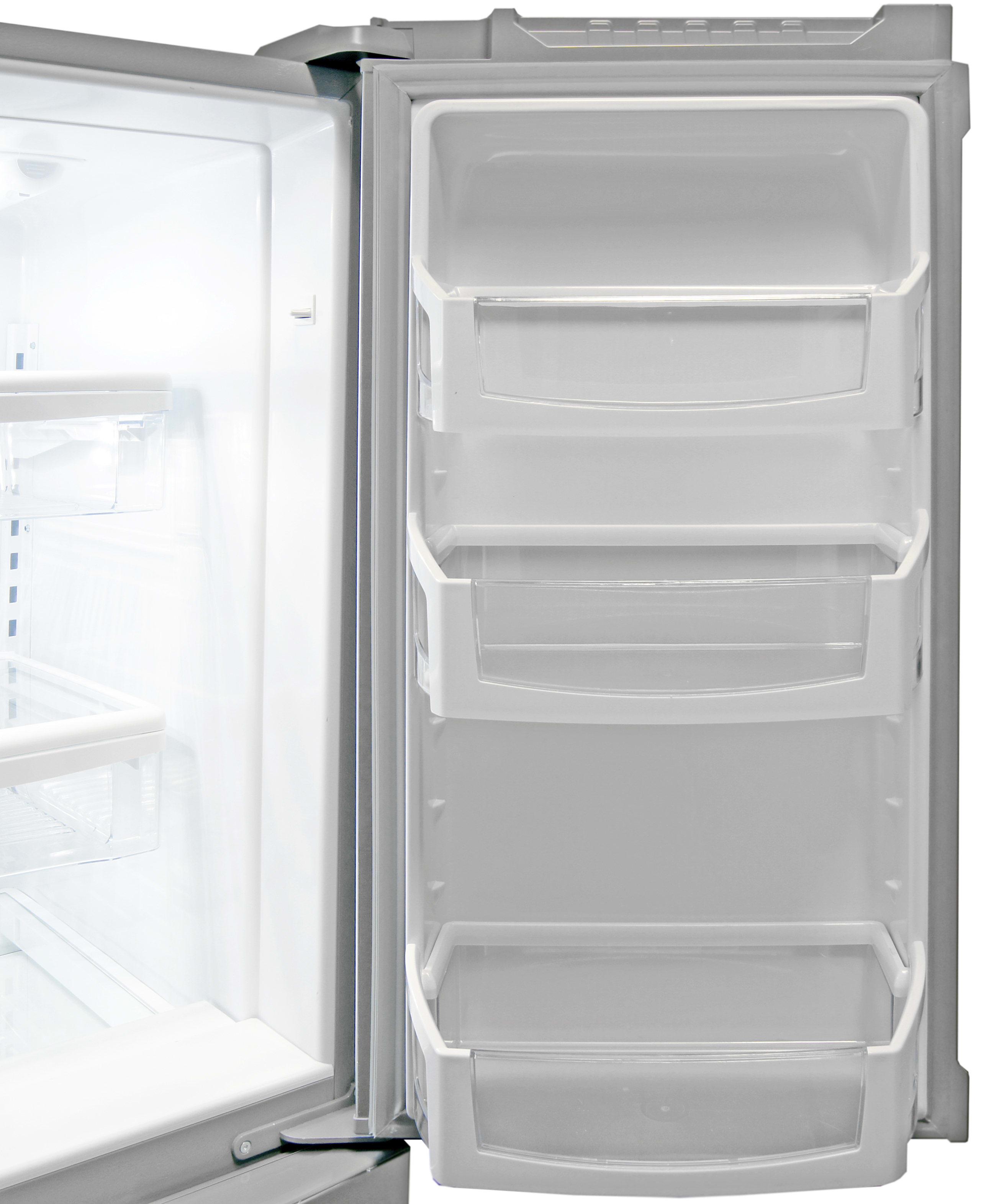 Gallon-sized bucket storage can be found on the Whirlpool WRX735SDBM's right fridge door.