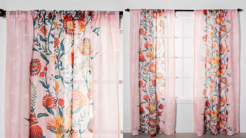 Floral patterned curtain on window