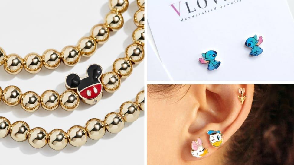 Children Mickey Mouse Castle Disney Castle Stud Earrings Jewelry for Women