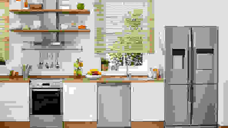 A French door refrigerator with four doors in a modern kitchen