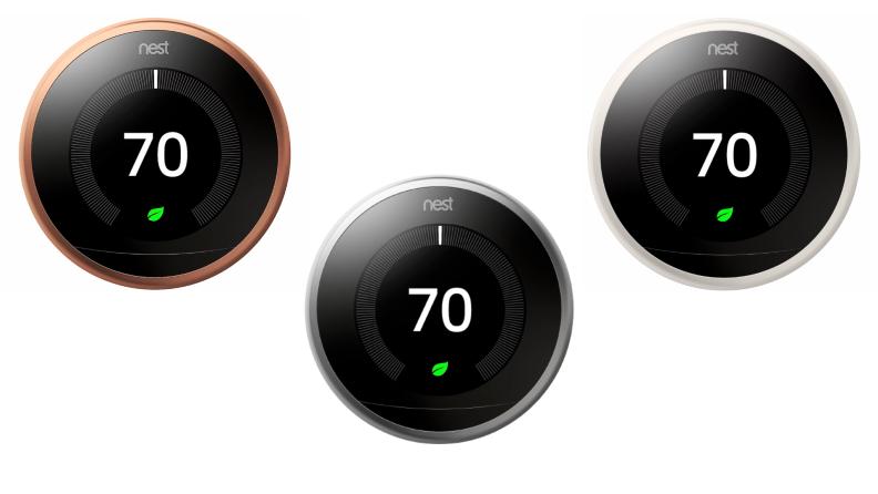 Three Google Nest thermostats.