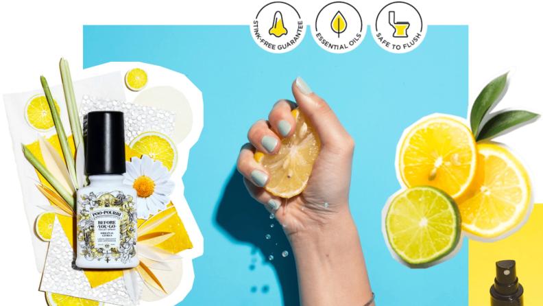 Hands holding sliced up lemon in front of blue background.