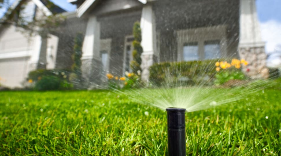 A sprinkler sprays water onto a green lawn.